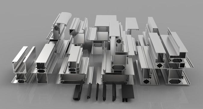 aluminium profiles 3d model max obj mtl fbx dae 1