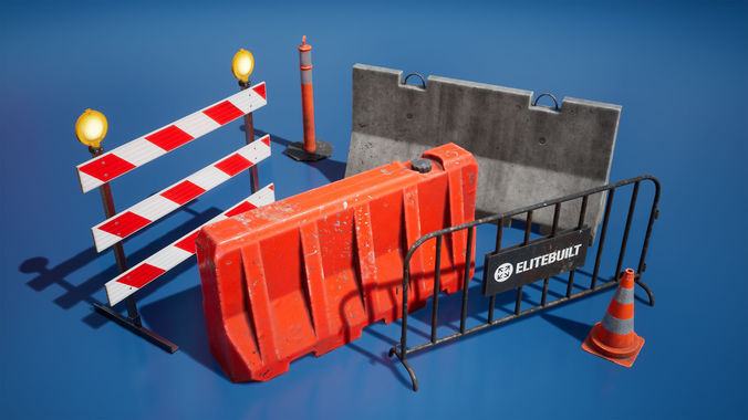 traffic barriers 3d model fbx tga unitypackage prefab uasset 1
