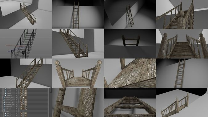 old ladder and old staircase 3d model obj mtl 3ds fbx c4d dae 1