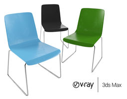 bright Plastic Visitor Chair in Bright Colors 3D model