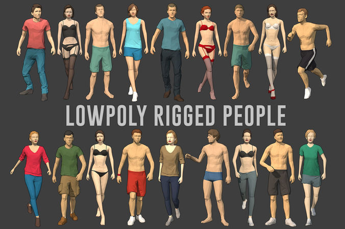 lowpoly rigged people 3d model low-poly rigged animated max fbx 1