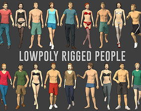 3D model Lowpoly Rigged People
