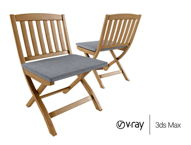 Outdoor Wood Folding Bistro Chairs 3D Model