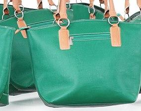 Green Brown Leather Handbag 3D asset