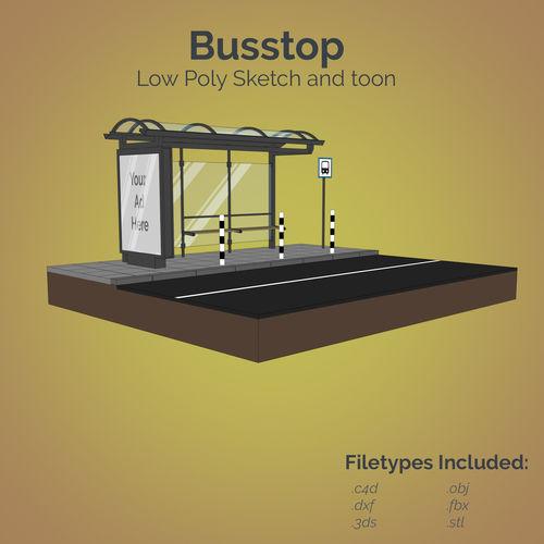 busstop 3d model low-poly obj mtl 3ds fbx c4d dxf stl 1