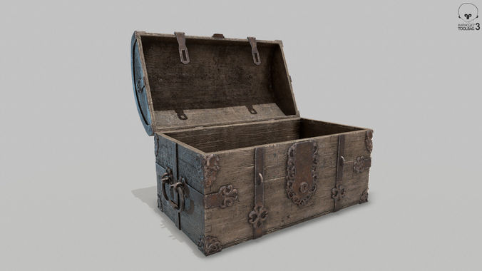 pbr old spanish treasure chest 3d model low-poly obj mtl fbx 1