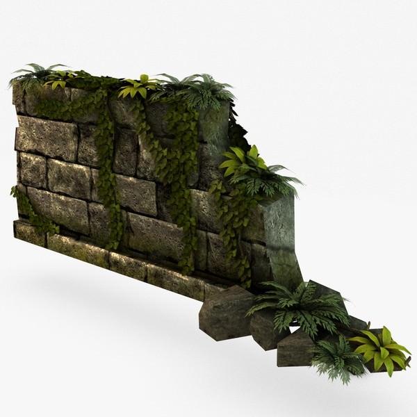 Jungle broken rock wall