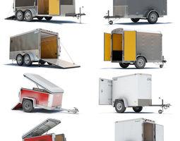 4 Cargo Trailers 3D Model