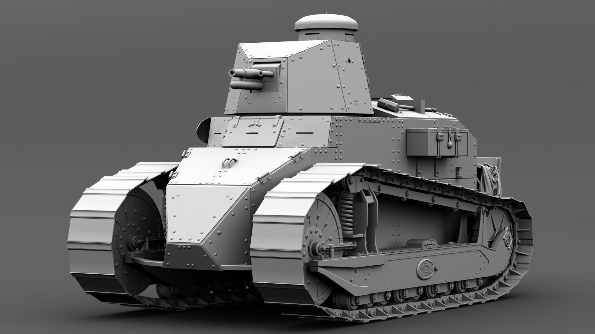 Renault ft french light tank d model fbx ma mb