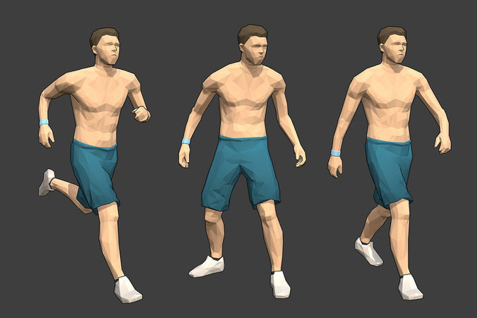 rigged lowpoly male character - max 3d model low-poly rigged animated fbx 1