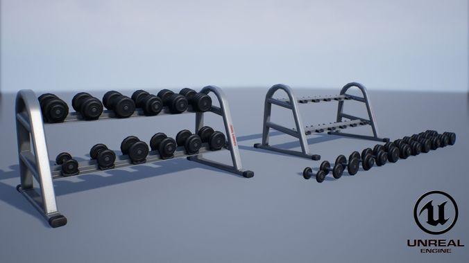dumbbell rack 3d model obj mtl fbx ma mb unitypackage prefab uasset mel 1