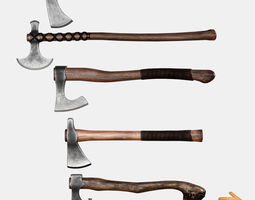 3D model Axes Pack Low Poly Game Ready UE4 Unity