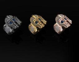 knight skull ring design 3D print model