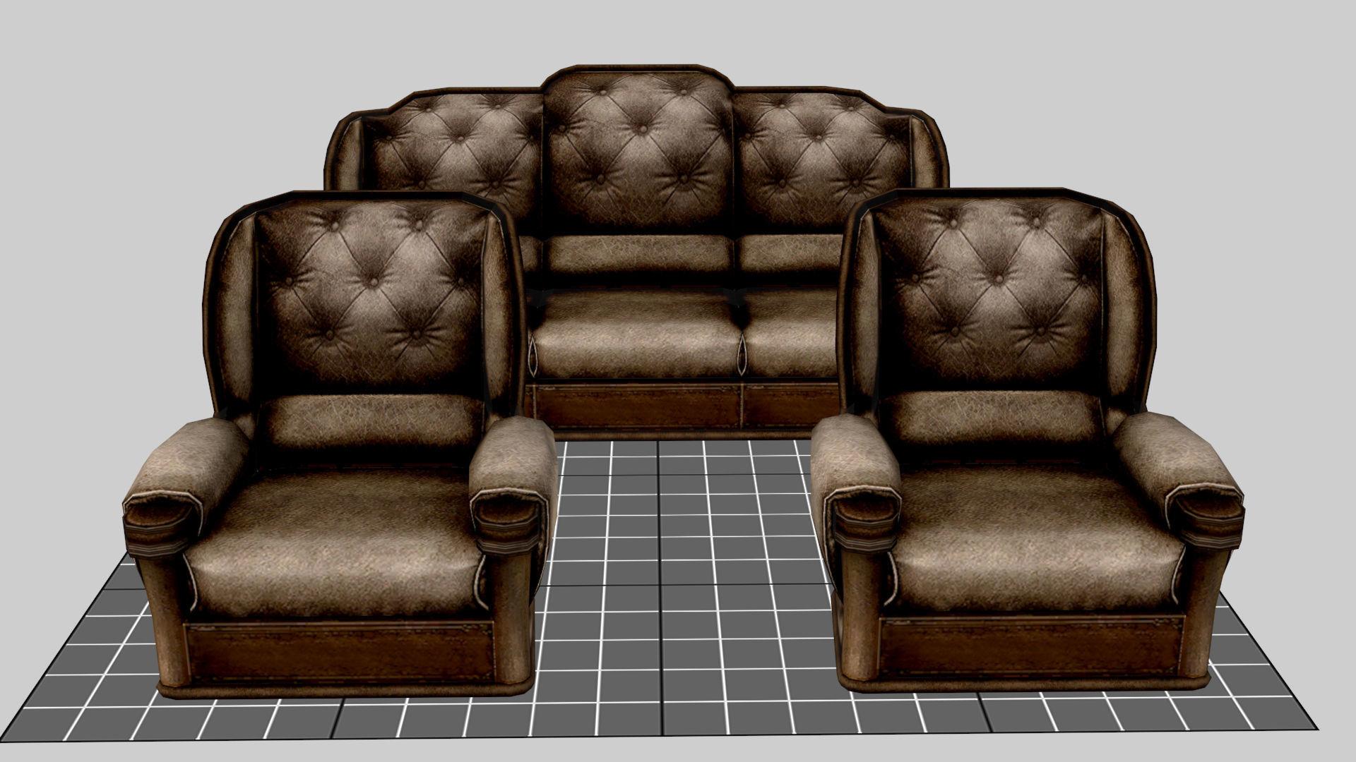 3D model realtime Sofa Set | CGTrader