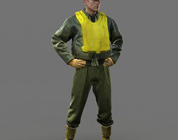 WW2 USA Fighter Pilot  3D Model
