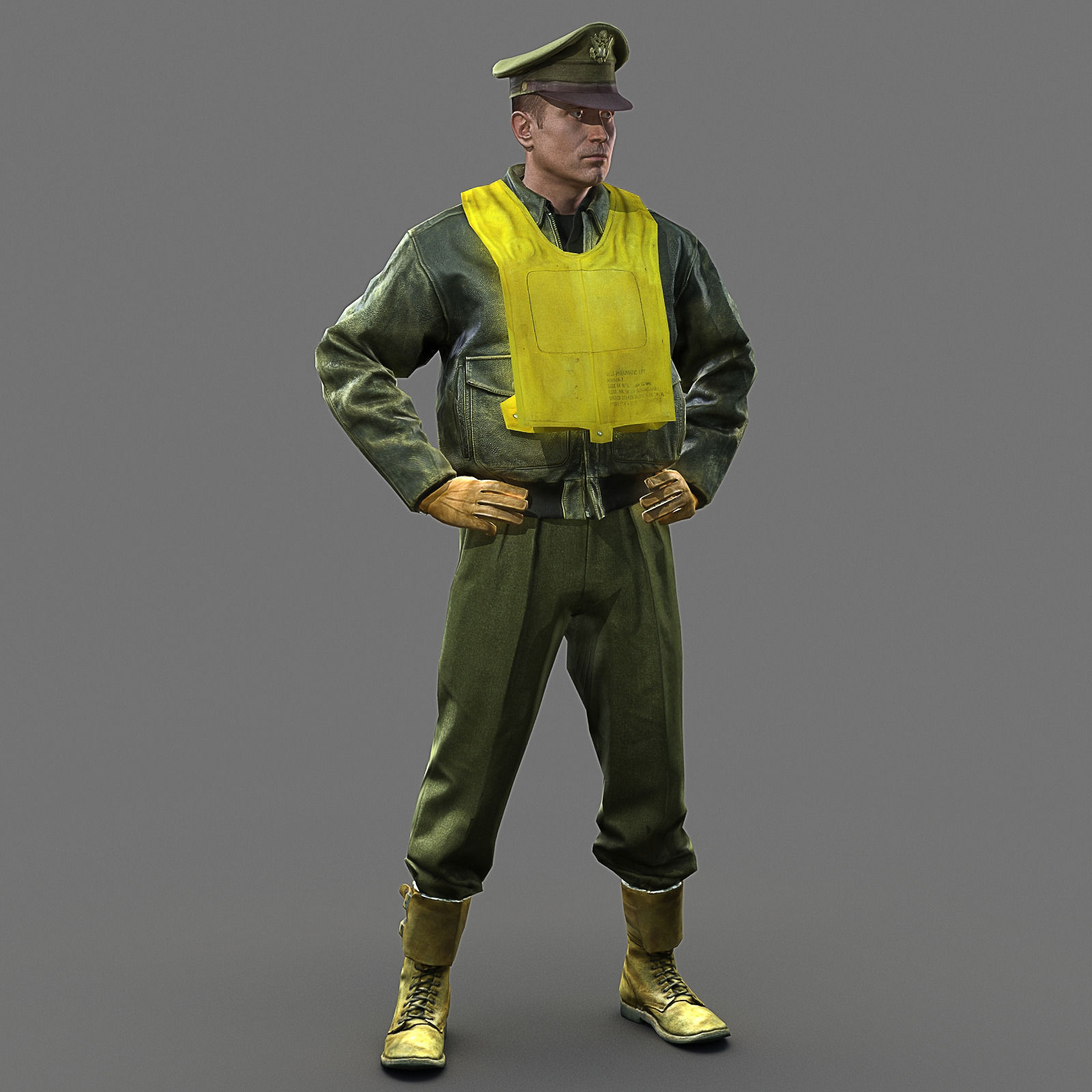 WW2 USA Fighter Pilot 3D Model Game Ready Rigged .max