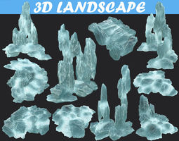 3D model Low poly Realistic Ice Cave Block Modular