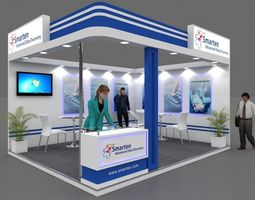 Exhibition stall 3d model 5x4 mtr 2 sides open Smarten