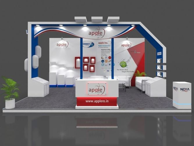 exhibition stall 3d model 6x5 mtr 3 sides open apple ro stand 3d model max 1
