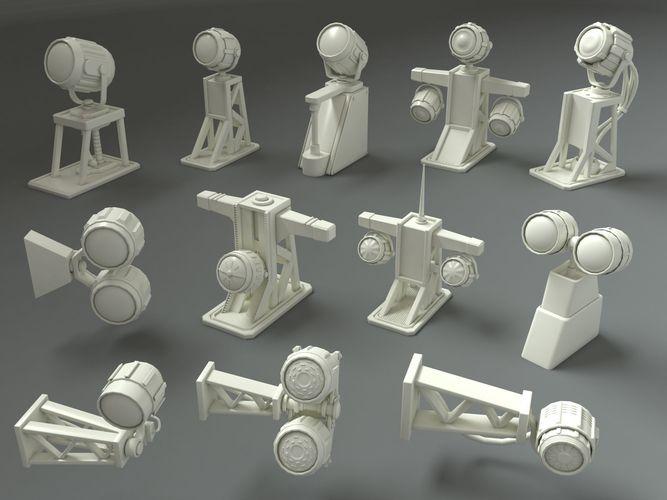 low poly military lamps - 12 pieces 3d model max obj mtl fbx stl 1