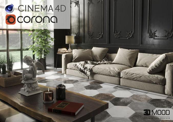 black living 3dmood in cinema 4d and corona ready to render 3d model obj mtl 3ds c4d tga 1