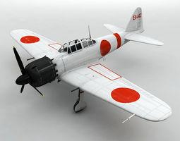A6M5 Zero Aircraft White 3D model
