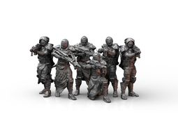 Sci Fi Infantry Squad Miniatures 3D printable model
