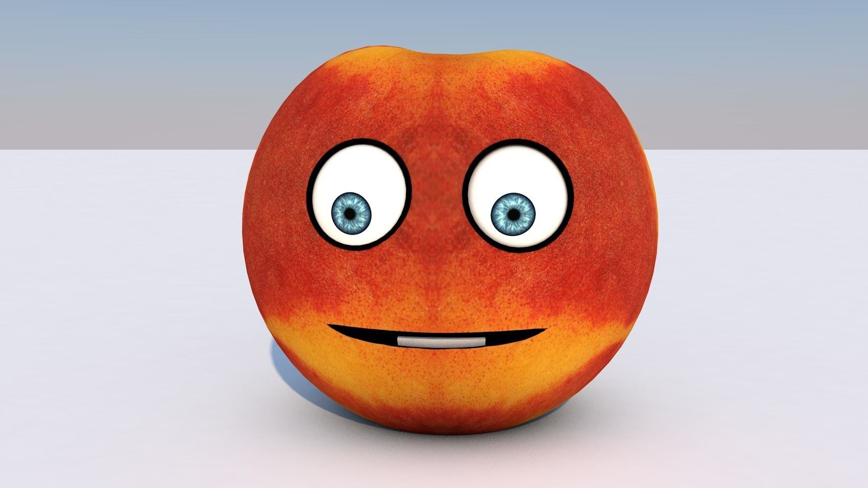 Animated Fruit Nectarine Character - Mouth and eyes rigged | 3D model