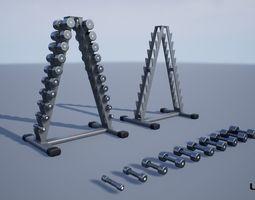 Chrome Dumbbells Rack 3D asset