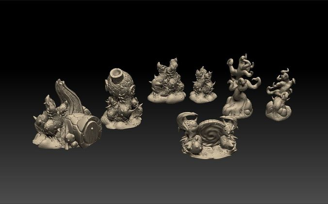 fey nature and houses tabletop scenery 3d model stl 1