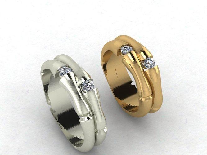 Bamboo Wedding Rings 3d Print Model Cgtrader