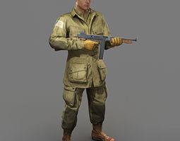 WW2 US Paratrooper 101st Airborne 3D Model