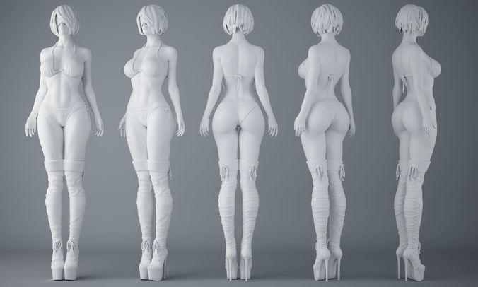 hd sexy bikini girls 3d model stl 1