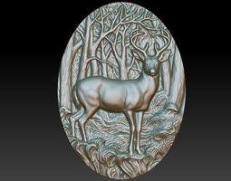3D printable model bas-relief of deer