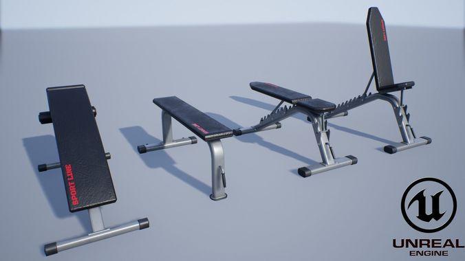 sport bench set 3d model obj mtl fbx ma mb unitypackage prefab uasset mel 1