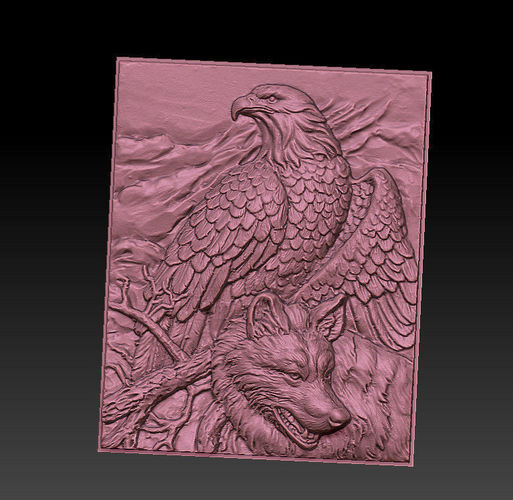 wolf and eagle 3d model obj mtl stl 1