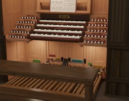 Antique cathedral pipe organ console 3D