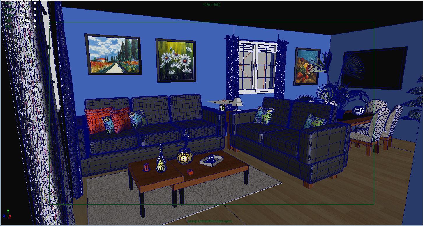 Living Room 3d Model Obj Fbx Ma Mb Mtl