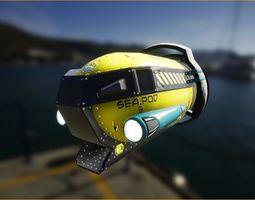 SeaPod 5 Underwater Vehicle UE4 PBR 3D asset