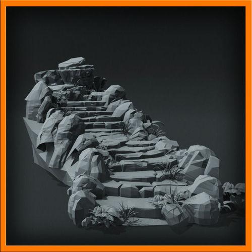 Generic stone stairs BaseMesh set - 013D model