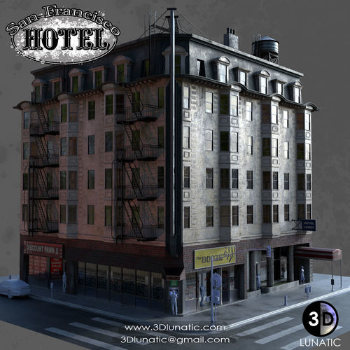 san francisco hotel 3d model obj mtl fbx ma mb 1