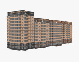 Residential House Building Complex Part 1-4 All 3D model
