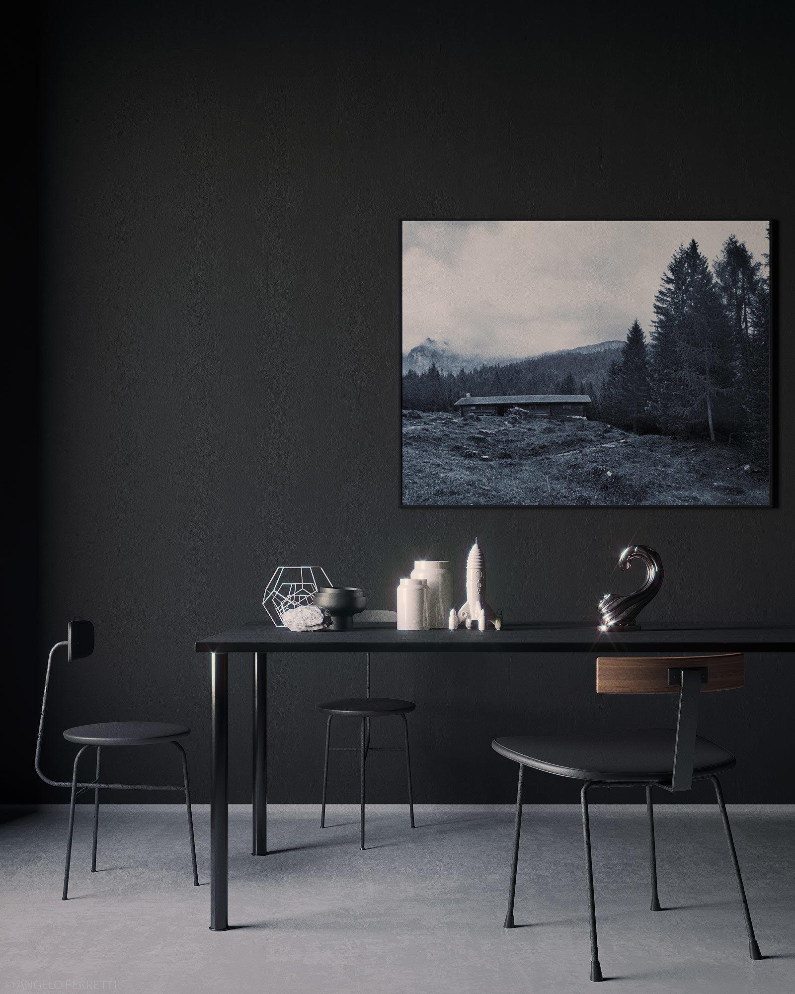Living Room Interior Design Pdf: Black Interior Scene 3D
