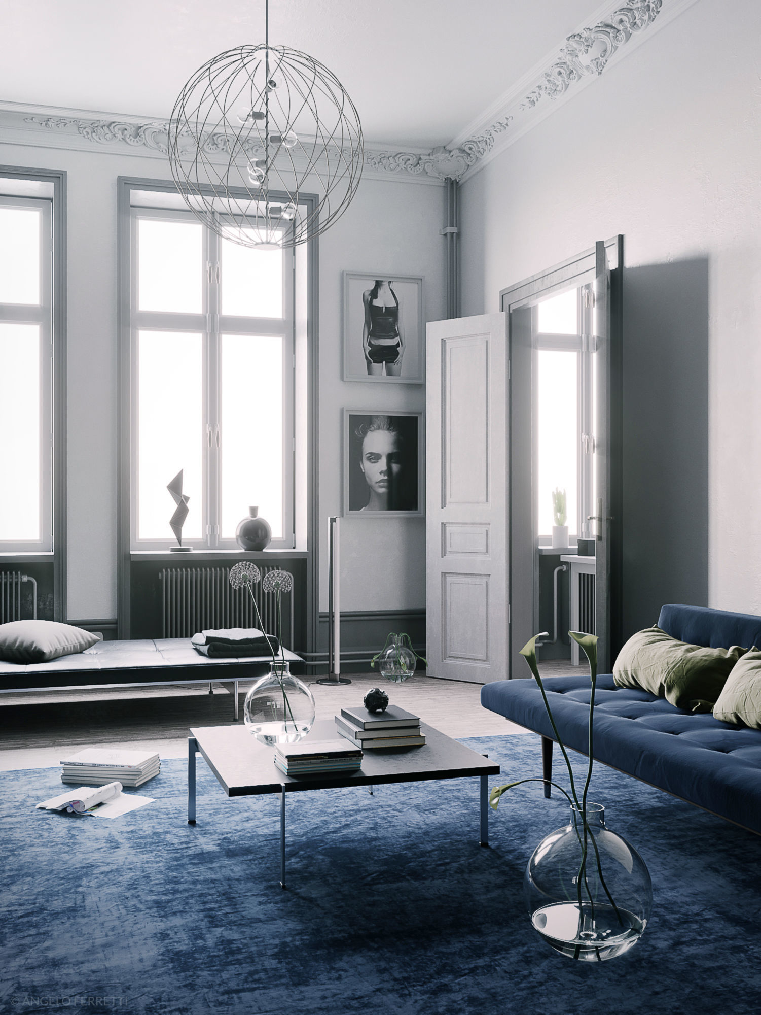 Blue Scandinavian Interior scene