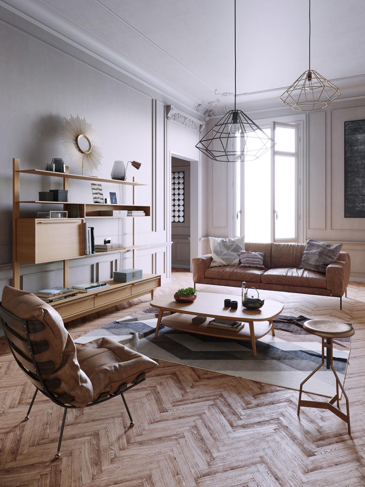 Mid Century interior scene