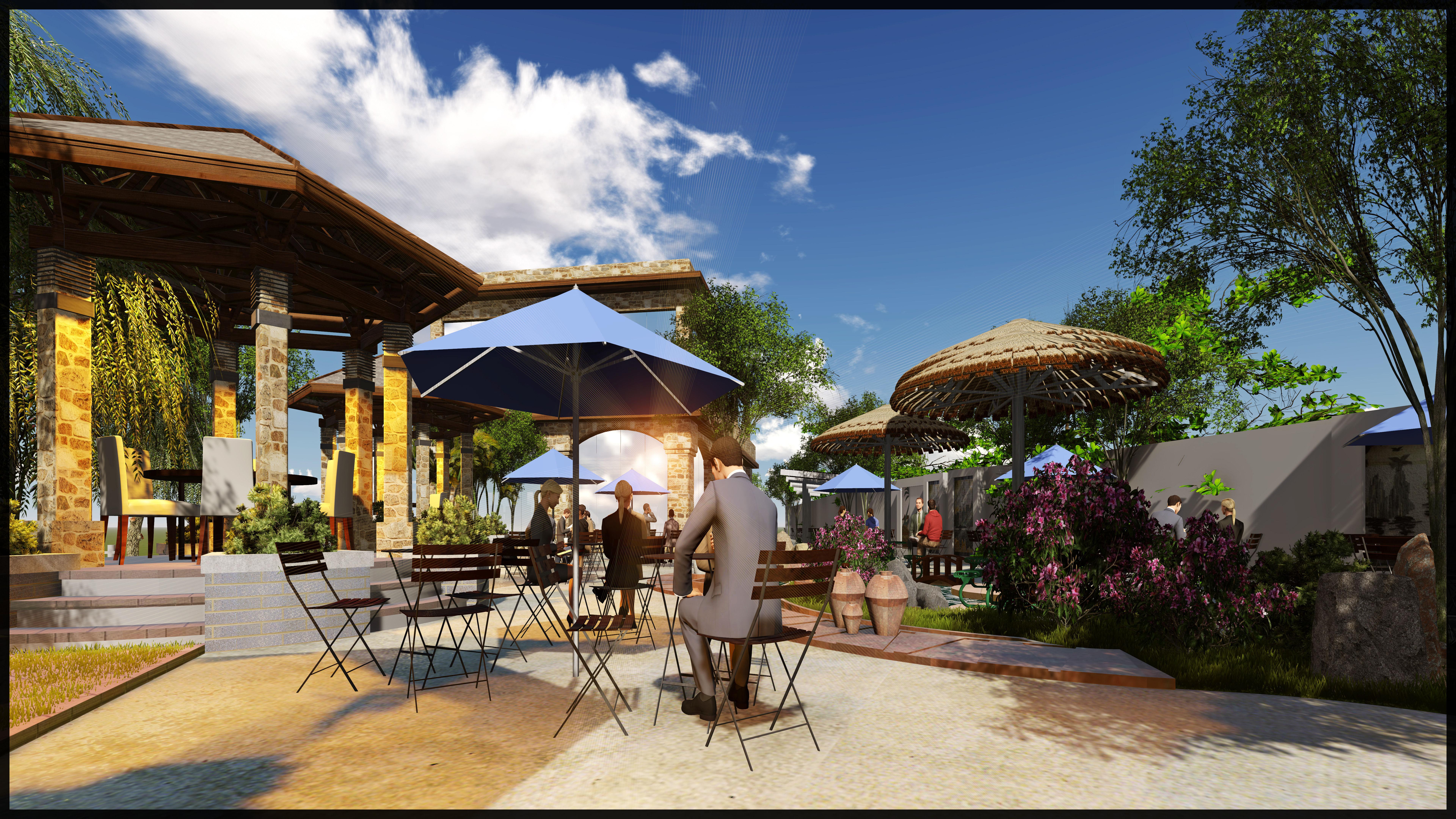 outdoor cafe 3d model 3d printable stl skp