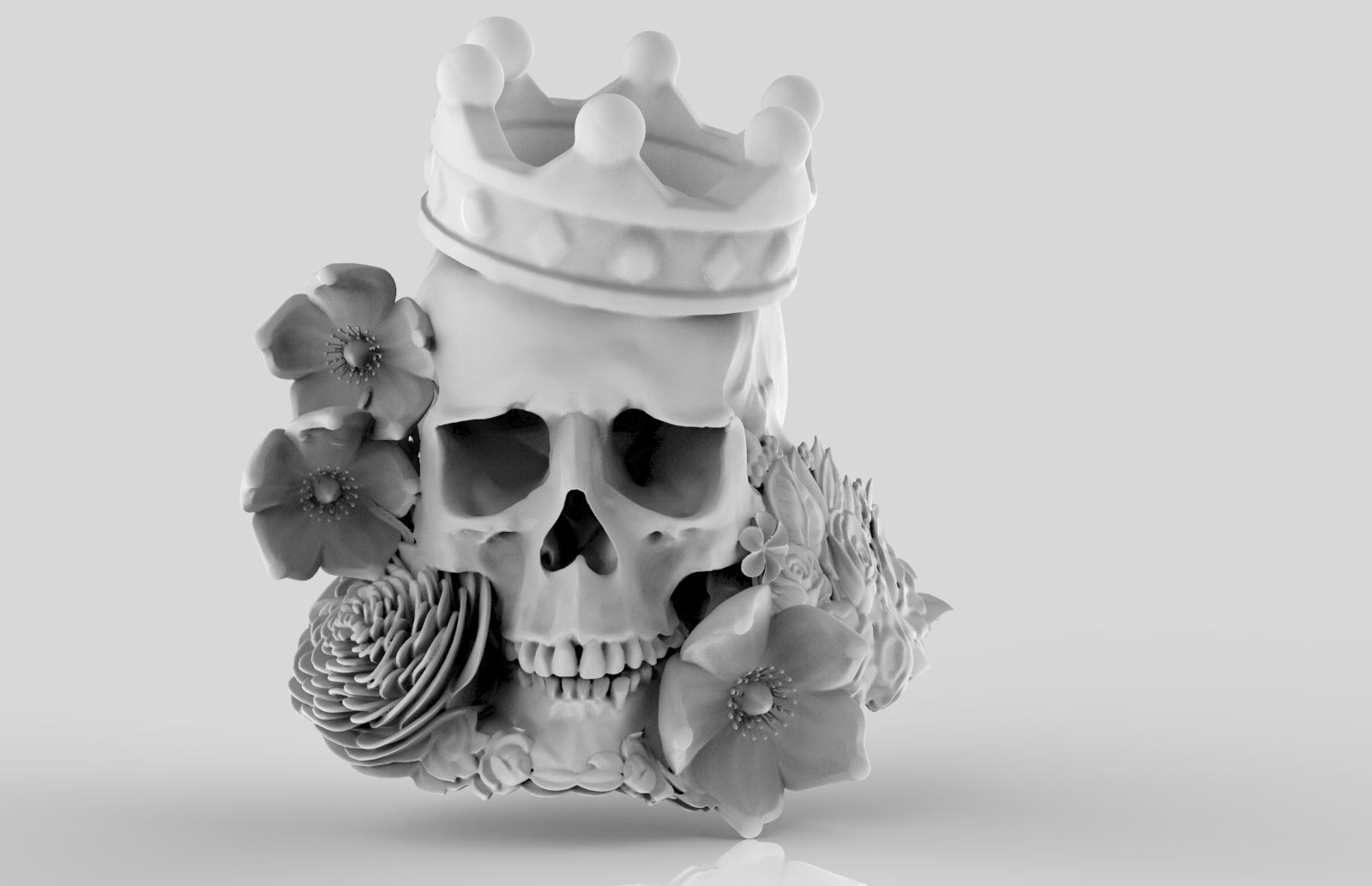 Detailed Realistic Jewelery element Man Skull Flowers and Crown
