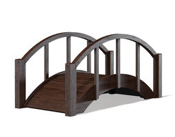 Small Dark Wooden Bridge 3D Model