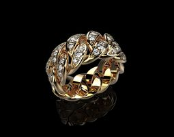 Diamond Cuban Ring 3D printable model sterling