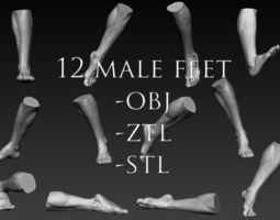 12 Male Feet 3D model